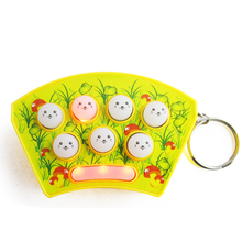 Free Shipping Mini Keychain Playing Hamster Handheld Game Consoles Puzzle Percussion Plastic Toys Color Random