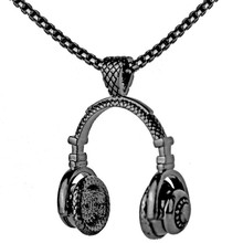Atreus Rock Jewelry Men Necklace Stainless Steel Music Headphone Pendant Necklaces New Fashion 2017 Cool Gifts Mens Jewellery