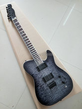 Hot Sale telecast electric guitar one piece tl guitar black color water ripples maple cover mahogany body tele guitar