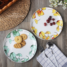 1pc Green Leaves Ceramic Dinner Plate Household Breakfast Plate Porcelain Plant Plate Dishes Tableware Supply Best Gift 8 inch
