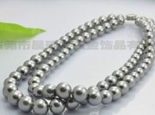 Women Gift word Love   >>>>>DOUBLE STRANDS 10-11 MM SOUTH SEA ROUND SILVER GREY PEARL NECKLACE mujer for silver-jewelry