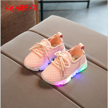 KKABBYII Girls LED Sneakers Toddler Breathable Children Stars Glowing Kids Sports Shoes For Boys Shoe with light EU 22-31