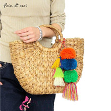 beach bag straw totes bag bucket summer bags with tassels pompom pompon women natural handbag braided 2017 new high quality