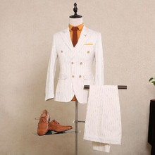 Double Breasted Wedding Suit White Pinstripe Business Suit For Groomsman Striped Suit Custom Made (jacket+pants+vest)
