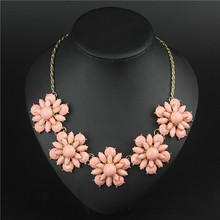 XL1664 Top Quality New Fashion Bohemian Jewelry Pink Flower pendant Choker chain Necklace for women Party Gifts Drop Shipping C