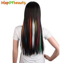 "MapofBeauty 16"" long Straight 5pcs Women Clip in Hair Extensions pink white blue Pure colors Clip-in Fake Synthetic Hair Pieces(China)"