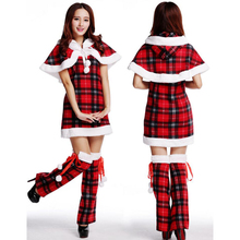 Newest Women's Christmas Costumes Xmas Party Sexy Plaid Pattern Dress+Hooded Cape+Leg Coverings 3pcs/Set sexy women dress(China)