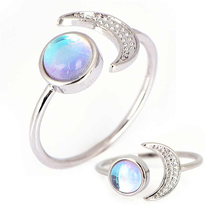 Silver Round Opal Stone Bezel Setting Tear Drop Single Thin Dainty Women Ring Dia 16.4mm 17.3mm 18.1mm 18.9mm 19.7mm