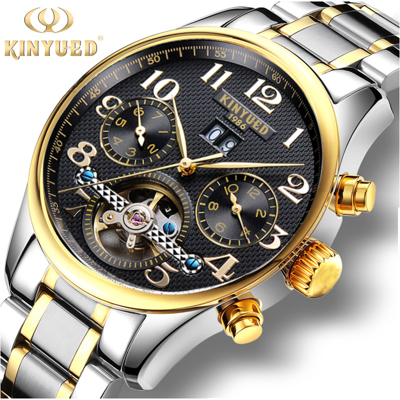 Genuine KINYUED Luxury Brand Mens Watch Automatic Mechanical Wristwatch Tourbillon Stainless Steel Male Watch Relojes Hombre<br>