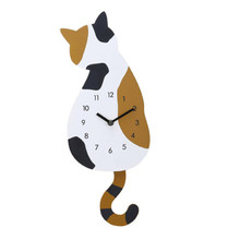 Newest Creative Mute Home Decor Wall Clocks Cartoon Swing Tail Cat Wall Clock Digital Acrylic Wall Decoration Cute Gift for Kids(China)