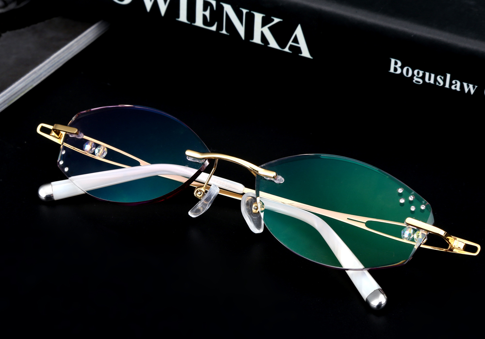 2c9f269556 ... Diamond Trimmed Rimless Glasses Titanium Fashionable Lady Eyeglasses  Spectacle Frames Women. xq Size 4 xijie YS1. Prescription Lenses Service
