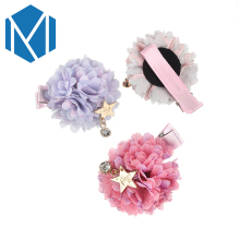 M MISM Sweet Girls Fabric Flower Ball Hairpins Cute Mesh Floral Barrettes Nifty Children Lace Bubble With Star Pendant Hair Clip(China)