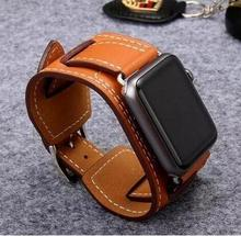 Newest Genuine Leather Loop For Apple Watch band Buckle Cuff for iwatch strap 38mm 42 mm series 1 2 3(China)