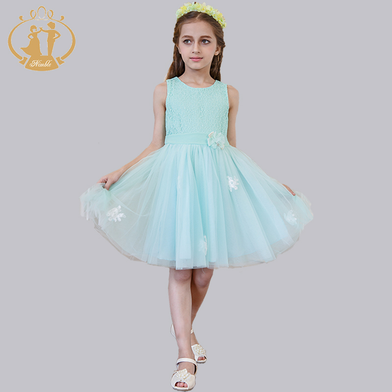 Princess Girls Dresses  2-color Brand Girls Clothes Clothes Lace Mesh Pleat  Wedding Party Children Dress 2016 Summer New<br><br>Aliexpress