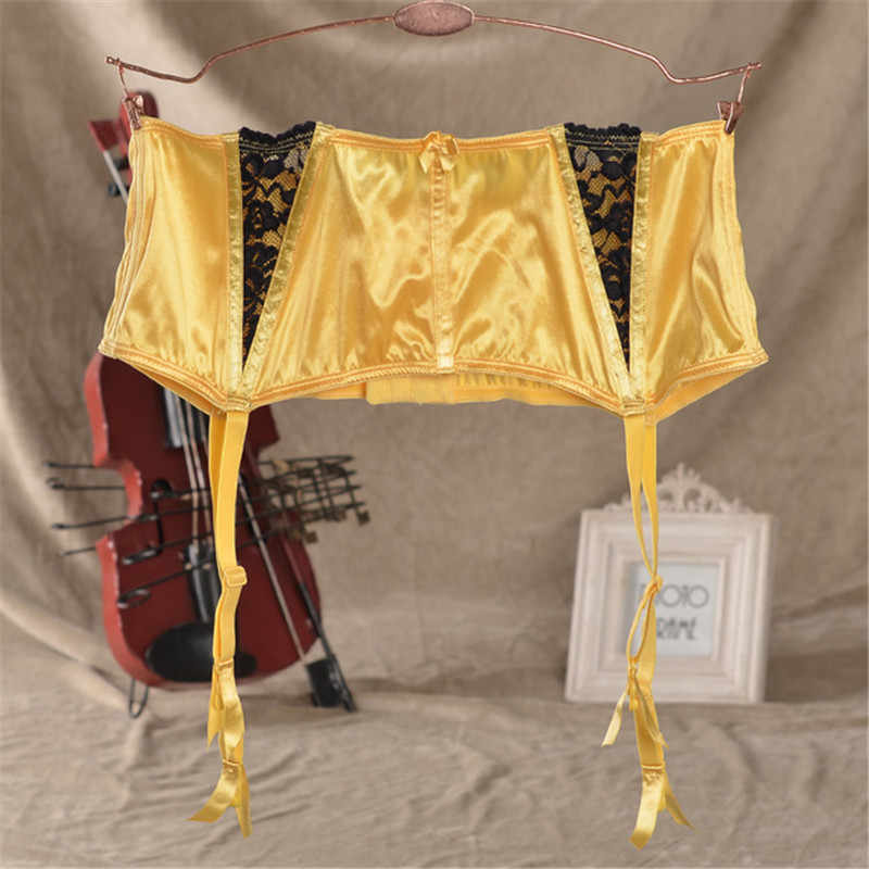 d261da1604 High Waist Garter Belt Yellow Suspenders for Stockings Fishbone Lace Sexy  Garters Belts For Stockings Women