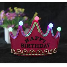 Happy Birthday Led Light Birthday Party Princess Crown Craft Tiaras Birthday Hat For Girls Birthday Gift