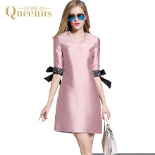 Queenus Women Summer A-Line Dress 2017 V-Neck Half Sleeve Sequins Cuff Bow Knot Cute Party Dress Women Day Dresses Free Shipping(China)
