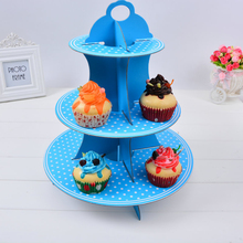 Cheap Cute Point Cake Stand for Baby Shower Birthday Party Decorations Supplies Cardboard Cupcake Stand 3 Tier Hold 24 Cupcakes(China)