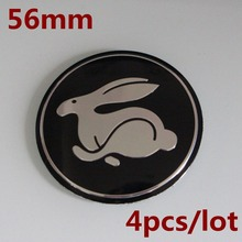 KOM POWER 4PCS/LOT 56.5MM Rabbit LOGO Stickers Wheel Center Cap Rabbit Emblem Badge Wheels Cover Hub Cap For VW Golf GTI R