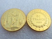 France 1889 Constitution 50 Francs Gold-Plated High Quality Copy Coins
