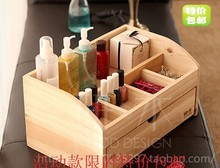Free shipping wood cosmetics queen with drawer storage box Creative Desktop storage box storage box jewelry Shelves(China)