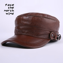 New pattern Genuine leather Hat male Autumn and winter Cowhide Flat cap Service cap Cap Keep warm Peaked cap(China)