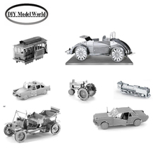 Metal Earth 3D Model Kits 7 Vehicles:Cable Car,Beach Buggy,Checker Cab,Steam Locomotive,Ford Model T, Farm Tractor,Ford Mustang