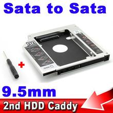 "Aluminum 2.5"" SSD HDD HD Hard Disk Driver External 9.5mm 2nd Caddy SATA 3.0 Case Enclosure ODD CD DVD ROM Optical Bay Laptop PC"