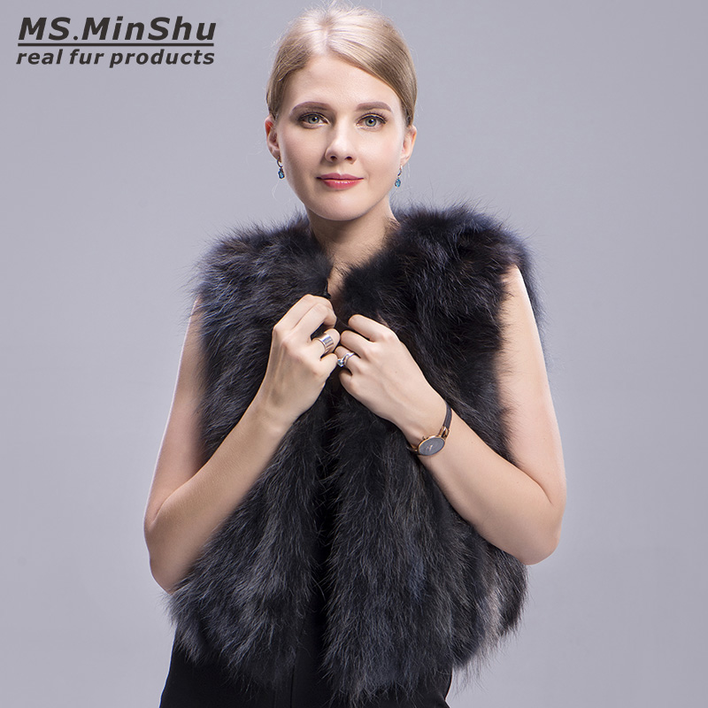 raccoon fur vest grey 4
