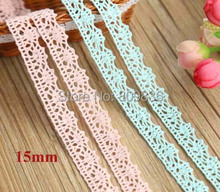 5 yrd/lot ZAKKA 1.5cm cotton lace Light pink & light blue crocheted lace for sewing Garment accessories(ss-a3539)(China)