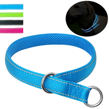 Slip Dog Collars Reflective Padded Night Safe Nylon Breathable Training Cat Pet Choke Collar for Small Medium Large Dogs