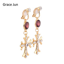 Grace Jun 3 Colors for Choose Full Rhinestone Austrian Crystal long Clip on Earrings for Women Party Wedding Elegant Jewelry(China)