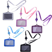 5 Pcs Horizontal Style PU Leather Business ID Badge Card Holder with 5 Pcs Retractable Lanyard Neck Strap Band(China)