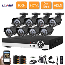 LOFAM 8ch Security Outdoor waterproof day Night CCTV Camera 8 channel CCTV AHD 960H DVR video surveillance System kit HDMI 1080P