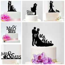 20pcs Romantic Wedding Happy Parents Child Family Cake Toppers Pick Mr Mrs Bride Groom Marry Party Acrylic decoration Wholesale