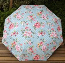 Flower Painting Umbrella Sun And Rain Anti-uv Parasol For Women With Case Rose