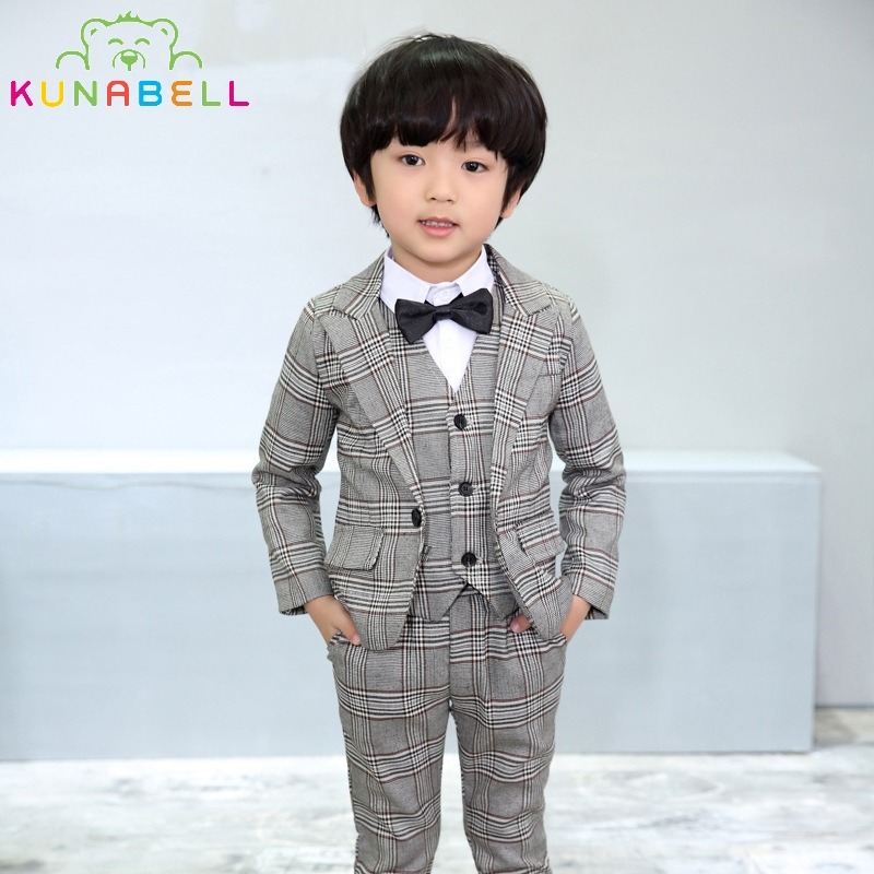 Brand Boys Formal Suits Wedding Birthday Party Jackets Vest Pants Gentleman Kids Children Tuxedo Blazer Costumes Clothes F14<br>
