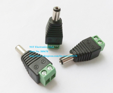 5.5x2.1mm Male CCTV UTP Power Plug Adapter Cable AC 2, Camera Video Balun Connector/Free Shipping/10PCS(China)