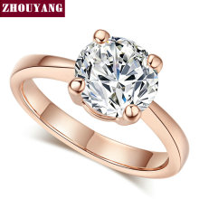 Top Quality Rose Gold Color Four Claw Cubic Zirconia 0.8CM Wedding Ring Austrian Crystals Wholesale For Women ZYR333 ZYR335