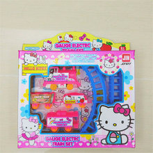 lively baby girl's Hello Kitty Cat Thomas gauge electric train set toys presents boy child plastic slot toy mini gift