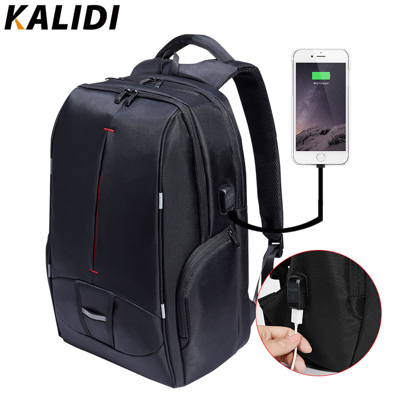 KALIDI 17 inch Waterproof Men Backpack USB Charging Travel School  Backpack Laptop Backpack 15 inch to 17.3 inch Canvas Backpack<br>