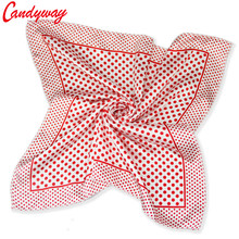 50x50cm Fashion Printed scarf Silk Head neckerchief Red Dots for Ladies Women Baby elegent Accessorie Headscarf bb297(China)