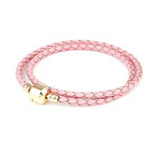 Plated gold Pink Double Loop Leather Charm Bracelet Chain Charms DIY Bracelets Fit Metal Alloy Glass European Big Hole Bead