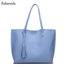 Ankareeda Luxury Brand Women Shoulder Bag Soft Leather TopHandle Bags Ladies Tassel Tote Handbag High Quality Women's Handbags(China)