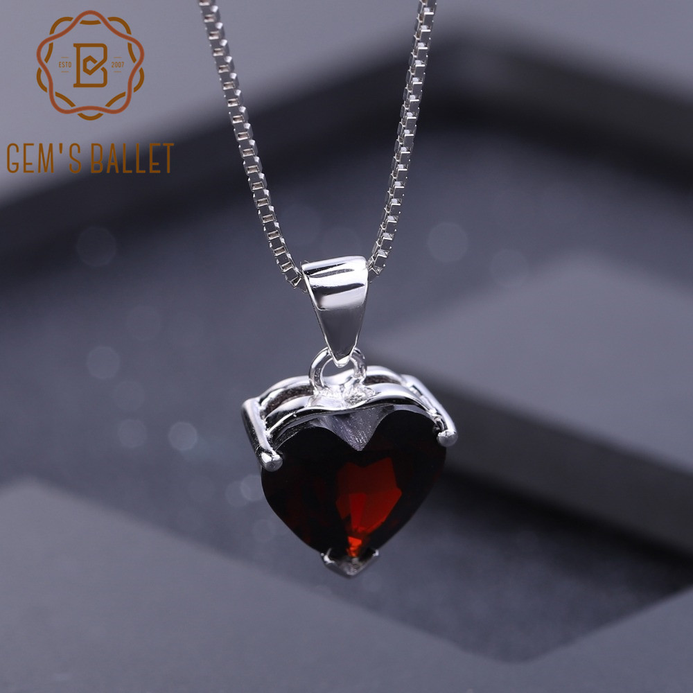 GEM'S BALLET Real 925 Sterling Silver Romantic Heart Jewelry 4.05Ct Natural Garnet Gemstone Pendant Necklace for Women Gift