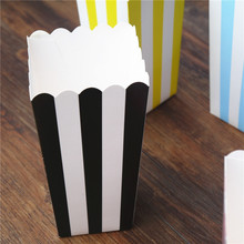 36pcs Popcorn box colorful chevron stripes dot Gold Gift Box Party Favour Wedding Pop corn kid party decoration bags loot pink(China)
