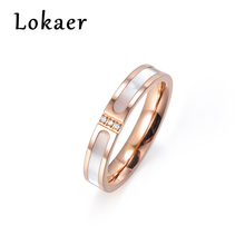 Lokaer Simple Design Rose Gold Color Clear Rhinestone Titanium Steel Shell Wedding Rings For Women Engagement Gifts Bague Femme