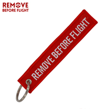 Remove Before Flight Key Chain for Motorcycles Scooters and Cars Aviation Gifts Tag Red Embroidery Key Fobs OEM Keychain Jewelry
