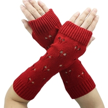 KLV Women Autumn / Winter Heart pattern Hollow Out Warm Long Fingerless Gloves(China)