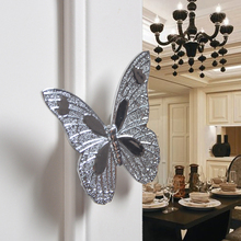 4PCS 32mm butterfly drawer door pulls silver color decorative cabinet wardrobe kitchen handles konbs furniture handles